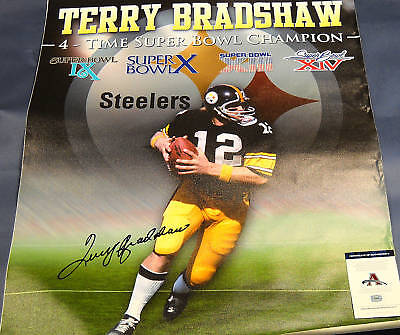 af3879a1b TERRY BRADSHAW STEELERS AUTOGRAPHED 32X40 CANVAS AASH