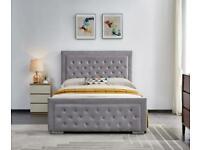 aesthetic design-double size-Plush Velvet Heaven Ottoman Storage Bed Frame in Grey Color
