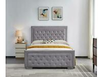 same day delivery-Plush Velvet Heaven Ottoman Storage Bed Frame in Grey Color
