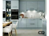 NEW boxed Esker Azure kitchen units. High gloss doors.