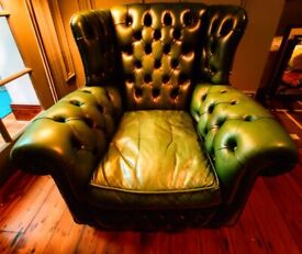 Chesterfield Queen Anne Wing Back Gentleman's chair