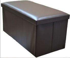Large Storage box (3 seat) or ottoman (Brown leatherette)