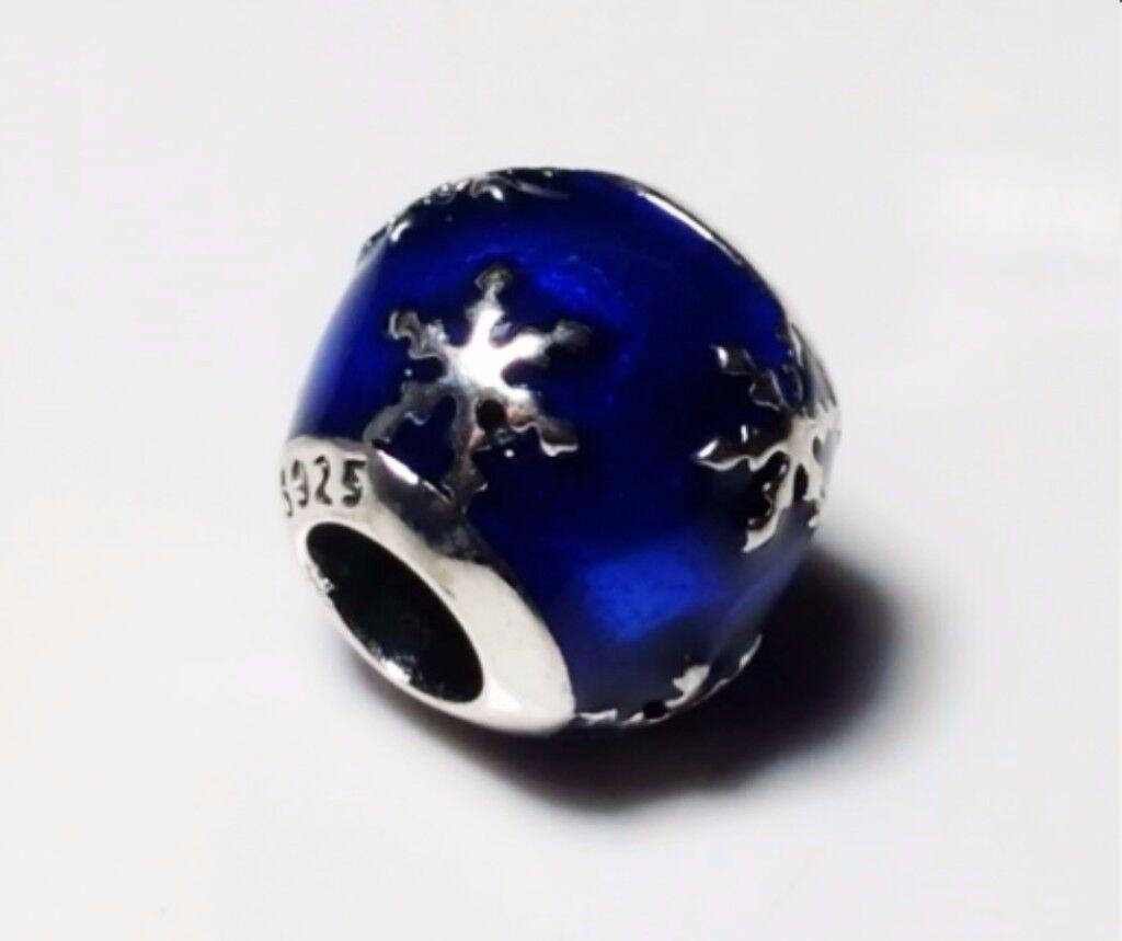 a winters delight charm sterling silver S925 blue enamel