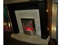 Electric Fire Suit, Fire Surround, Marble Back & Hearth & Electric Fire.