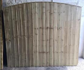 🌲Tanalised Wooden/ Timber Arch Top Close Board Feather Edge Fence Panels