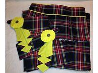 Black Stewart Tartan Curtains, Box Pleat Pelmet & Rosette Tie-backs For Sale
