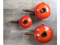 Three Le Creuset Saucepans With Lids (14 cm, 18cm, 20 cm)