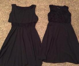 2 women's black dresses size 8/10