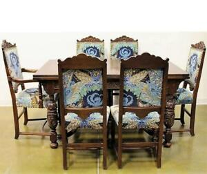 Jacobean Style early 20th Century Dining Table and 6 Chairs.