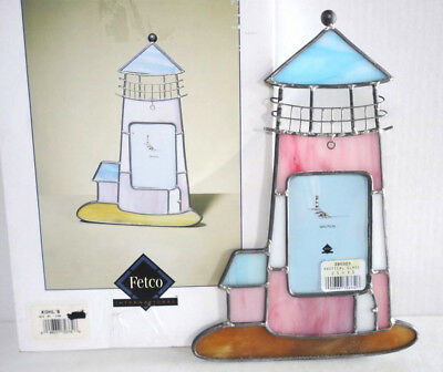 """NEW Fetco Stained Glass Lighthouse PICTURE FRAME 9.5""""T Nautical Table Top NIB!"""