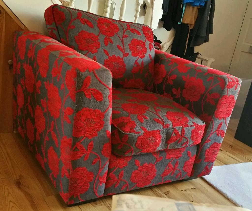 Dfs armchair chair grey red floral pattern in wembley Red and grey sofa
