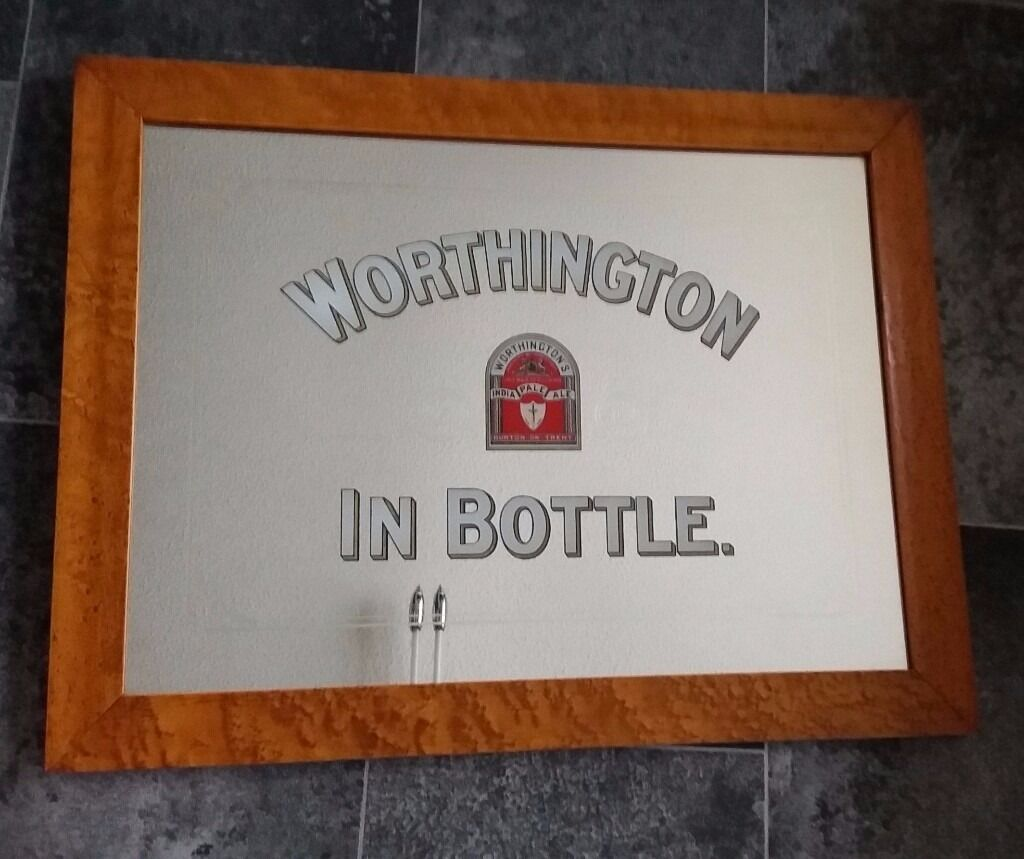 Pub Mirror Advertising Worthington In Bottle India Pale Ale 22.5 inches x 17.5 inches