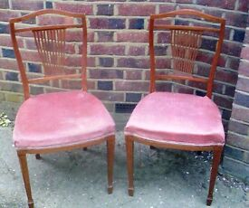 A PAIR OF ELEGANT LATE 19TH CENTURY, FLAME MAHOGANY CHAIRS.