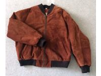 Men's Savannah Koch suede bomber jacket. Real leather. Rust/tan. Size L. Lining viscose.