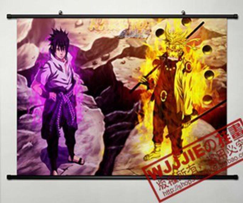 Home Decor Anime Uzumaki Naruto &Uchiha SasukeJapanese Poster Wall Scroll 608