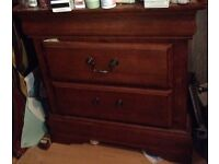 Solid wooden chest of draws with two draws very strong and heavy too one handle is missing