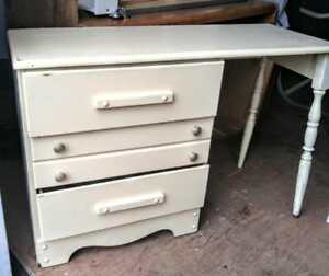 "Oakville RETRO BEDROOM DESK Vintage Cream Painted SOLID WOOD 46X17X30"" Rustic Cottage Country Old Fashioned Retro"
