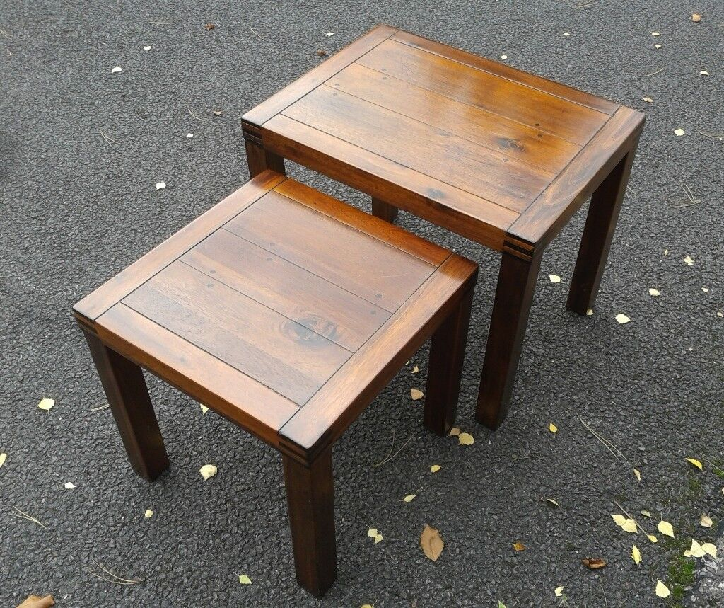 NEST OF TABLES - two tables, dark, varnished wood
