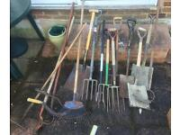 Job lot of 18 well used gardening tools for sale. Forks, Shovels, Rake, Saw, Hoes, Scythes etc