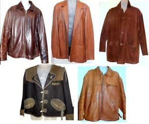 MENS LEATHER JACKETS - ALL NICE QUALITY - SEE ALL MY ITEMS FOR MANY SIZES, STYLES - TRY THEM ON IN OAKVILLE 905 510-8720
