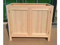 Solid Pine Kitchen Cabinet Base Unit with 2 Doors