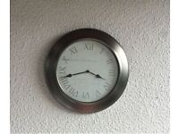Kitchen Clock Large Metal Surround Very Good Condition Approx 14 inches 36cm