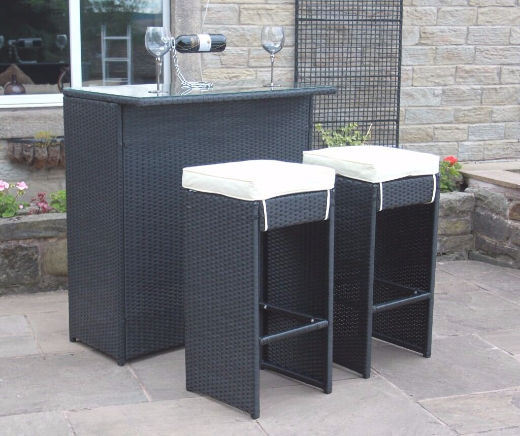 2 seater bar set in black rattan with grey cushions for Lounge garden furniture sets