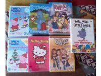 Selection of childrens dvds , Peppa Pig, Hello Kitty, Mr Men/Little Miss, Night Garden & Bratz.