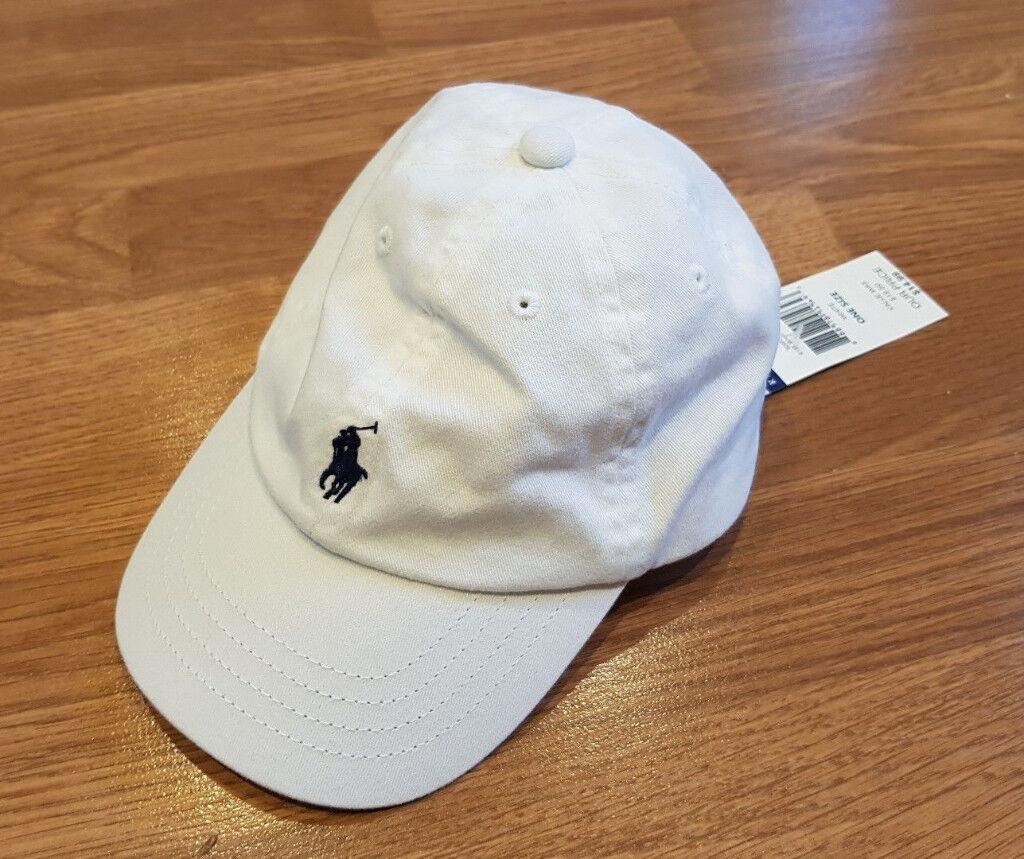 48a6ccd87f8 Ralph Lauren KIDS Polo Player Logo White   Navy Blue Baseball Cap 12 - 24  NEW