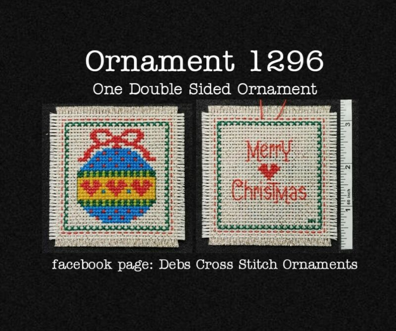 1296 Christmas Finished Cross Stitch Ornament Completed