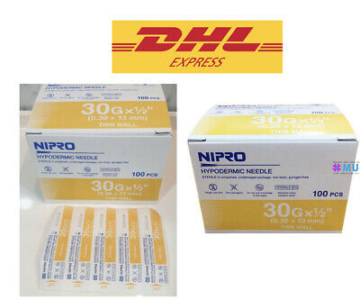 30g 12 Nipro Hypodermic Needle 0.3x13 Mm. Thin Wall Sterile Science Lab 100x