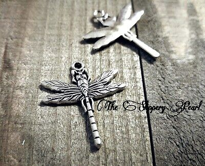 3 Dragonfly Charms Antique Silver Tone Insect Pendants Spring Garden Findings](Dragonfly Charms)