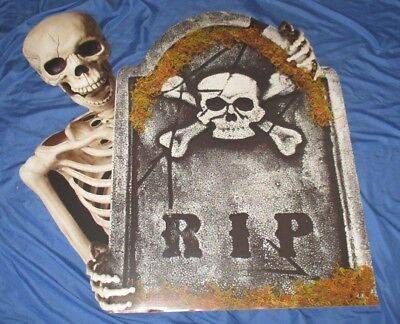 SKELETON / TOMBSTONE Spirit Halloween Exclusive Promo Display Sign   RIP](Halloween Rip Signs)