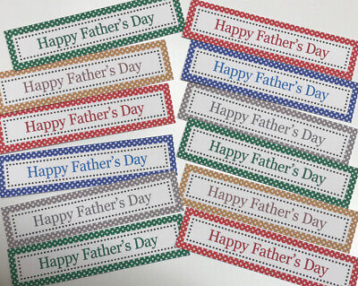 12 HAPPY FATHERS DAY Sentiments/Banners MIXED COLOURS New Hand Made Card Toppers