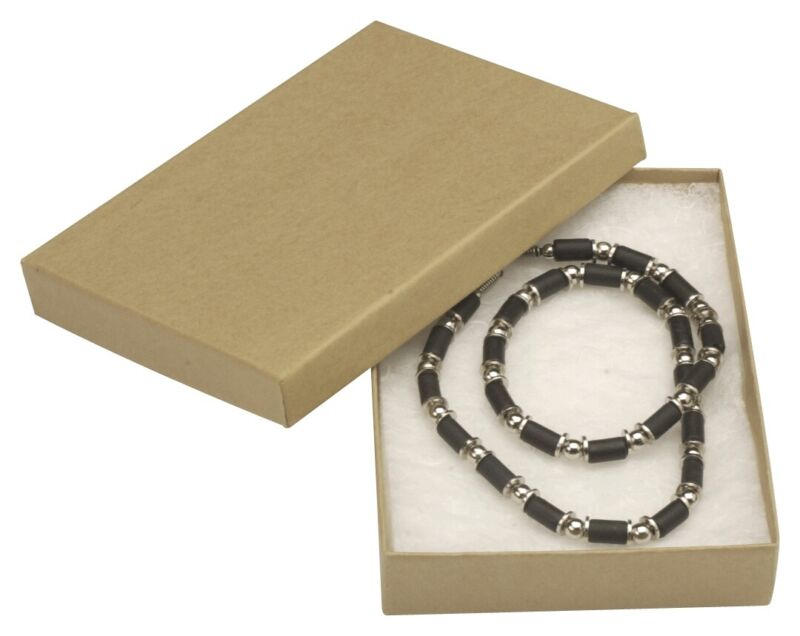 """100 Natural Kraft Necklace Jewelry Boxes 5 1/4 x 3 3/4 x 7/8"""""""