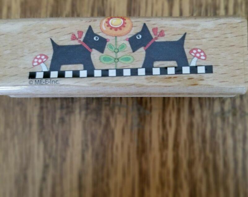 Mary Engelbreit Twin Scottie Dogs Flower Mushrooms Wood Rubber Stamp-NEW!