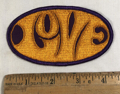 Vintage 1970s Groovy Love Embroidered Patch Sew On Purple & Gold