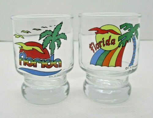 2 Vintage Florida Shot Glasses Palm Trees Sunset Seagulls