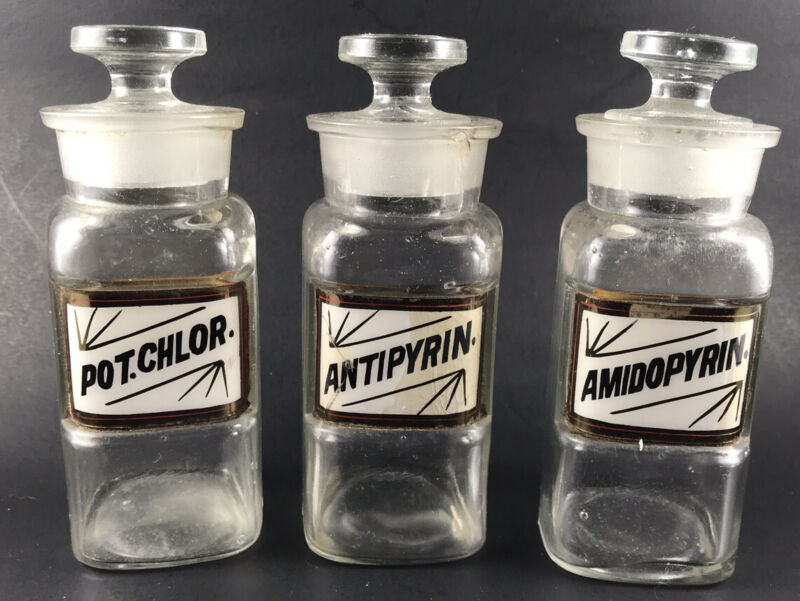 "Lot 3 Small ~5""  Antique Recessed Apothecary Pharmaceutical Bottles Unmarked"