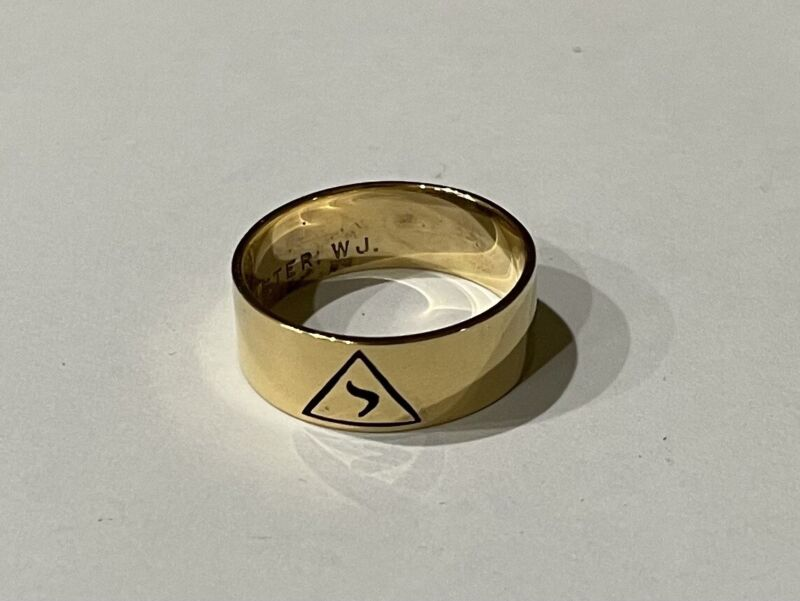MASONIC 14TH DEGREE GOLD WASHED STERLING SILVER 7.7MM RING BAND size 10.75