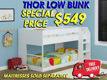 FREE DELIVERY - KIDS SINGLE SIZE LOW BUNK BED - BRAND NEW