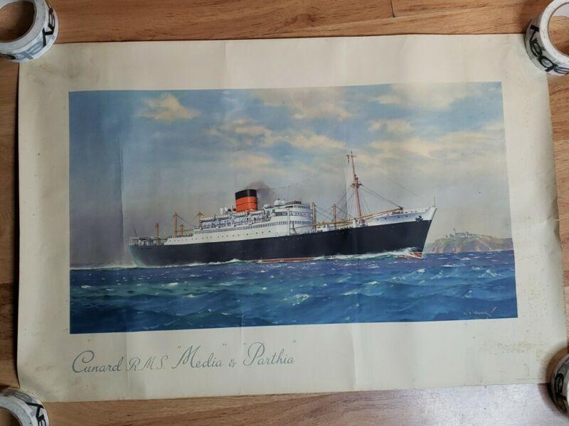 Vintage Cunard Line RMS Media Parthia Poster Print