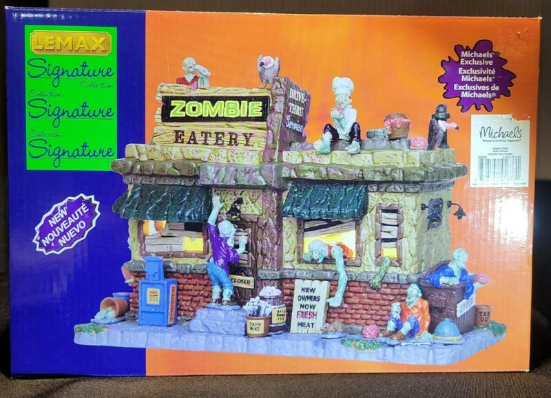 Lemax Signature Collection Spooky Town Zombie Eatery #45673 EUC -Retired RARE