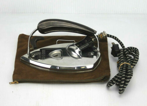 VINTAGE KM GAD-A-BOUT PORTABLE ELECTRIC FOLDING IRON W/ CORD & SUEDE POUCH!