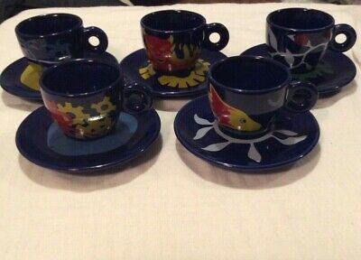 illy collection Coffee Espresso Luca Trazzi 1994 Trazzine x5 Cups And Saucers