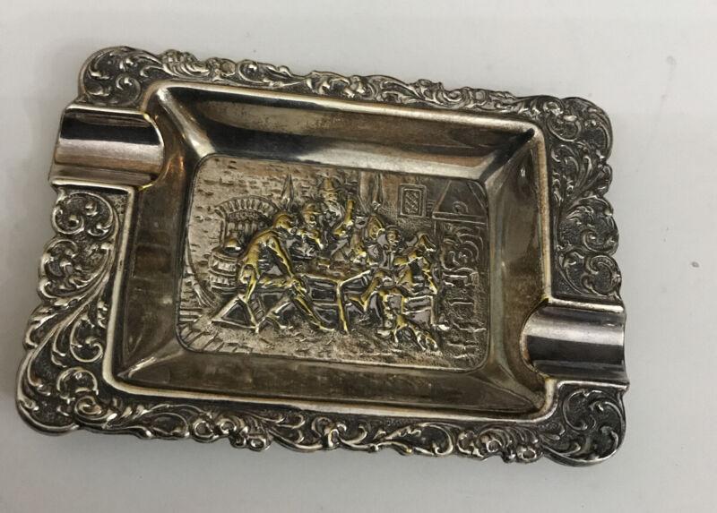 Vintage Antique Voorschoten Holland Figural Tavern Silver Plate Ashtray Dish
