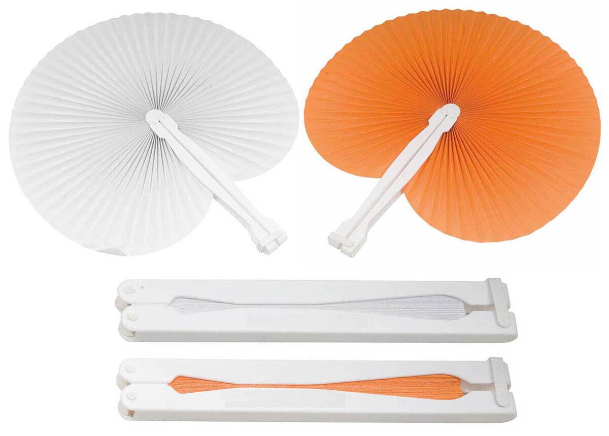 30 pz 15 bianchi 15 arancio ventaglio ventagli matrimonio bomboniera segnaposto