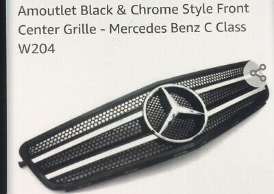 Amoutlet Black & Chrome Style Front Center Grille . Mercedes - Benz C Class W204