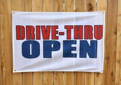 New Drive Thru Now Open Banner Outdoor Sign Restaurant For Takeout Vinyl Mesh