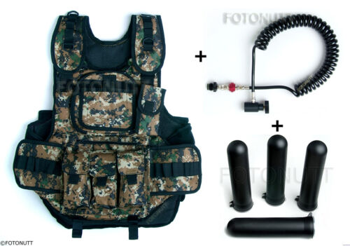 Complete WOODSBALL DIGITAL TACTICAL PAINTBALL VEST Package with 4 PODS & REMOTE